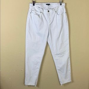 Eileen Fisher white denim  raw hem step jeans 10